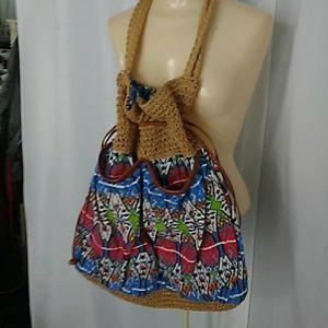 ***** Capelli straw and fabric tote